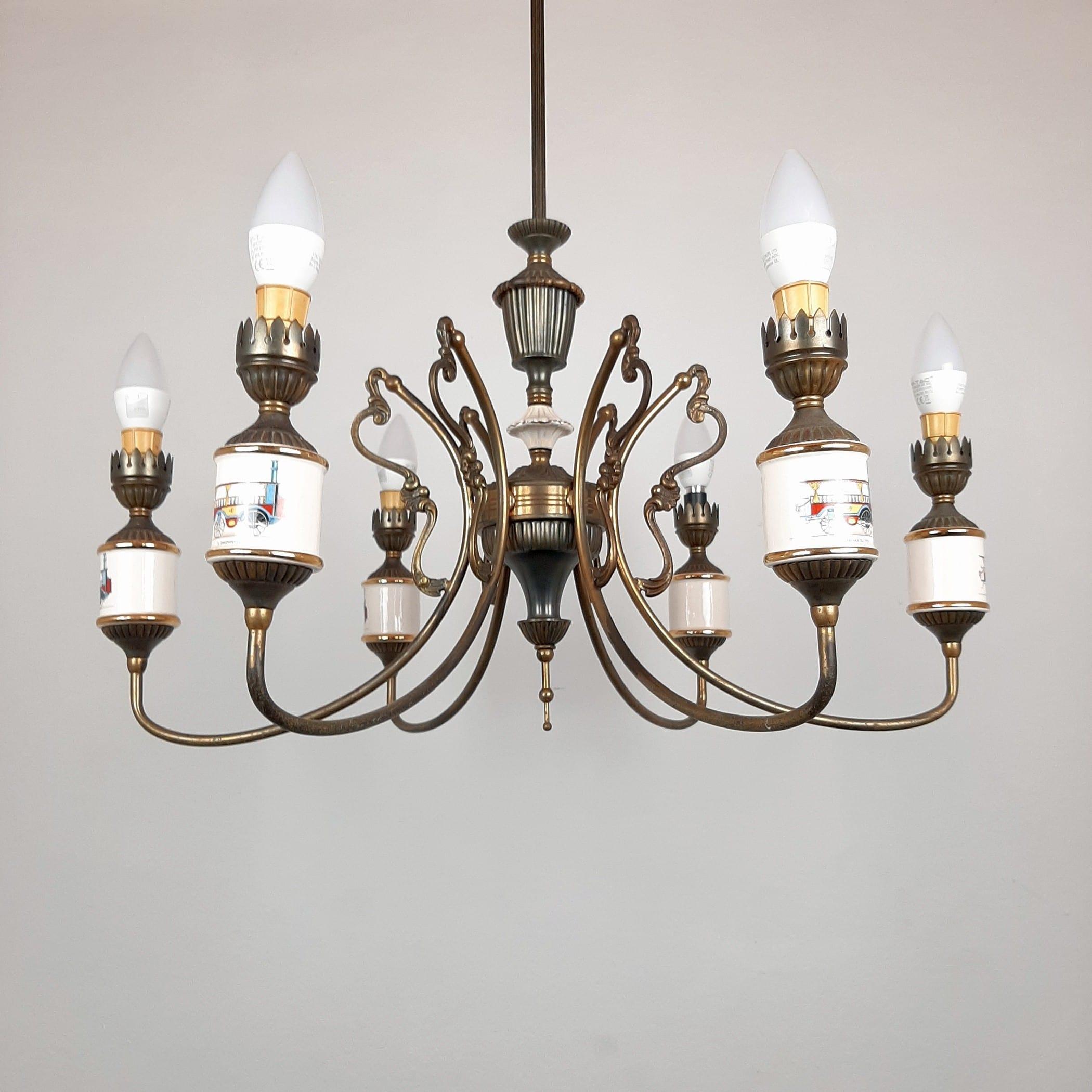 Vintage 6 arm porcelain bronze chandelier Compagnie Nationale De Porcelaine France 1950s Bronze lamp Mid-century lighting