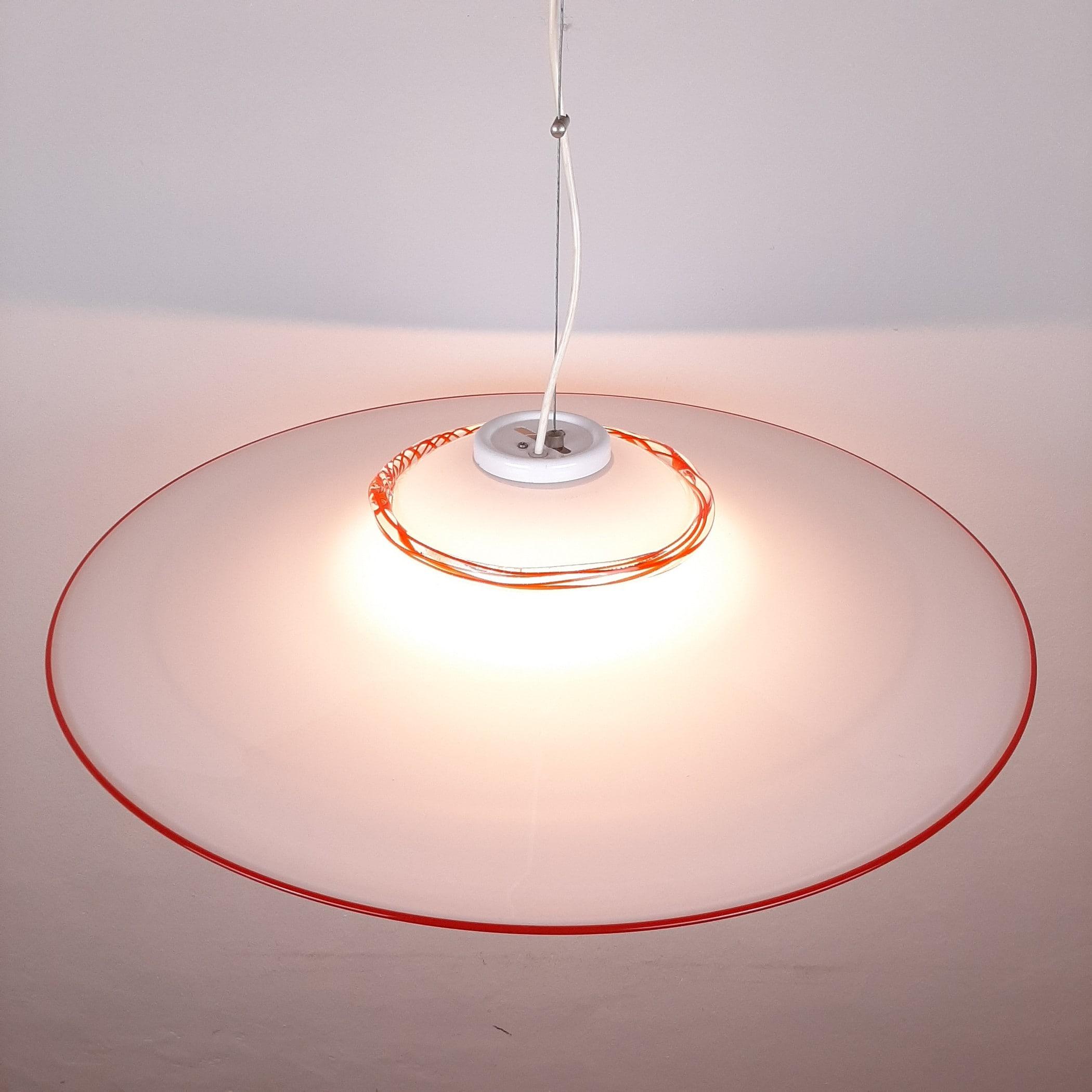 XXL Murano glass pendant lamp Italy 1970s Retro chandelier Mid-century light Space age