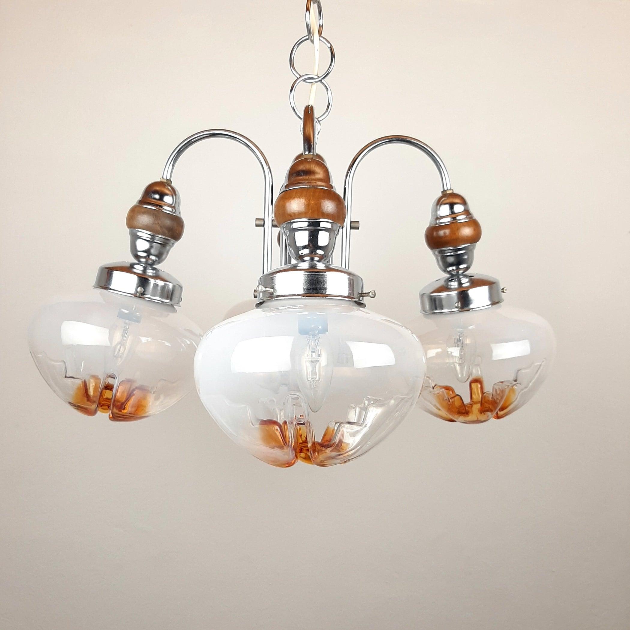 Mid-century 4 arm pendant lamp Yugoslavia 1970s Style Mazzega Metal Glass Space Age white-amber murano art glass bowls