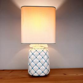 Vintage ceramic table lamp Italy 1960s Pillow lamp quilt nightlamp Retro home lighting