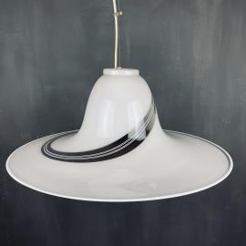 Vintage swirl murano glass pendant lamp Italy 1970s Mid-century light space age