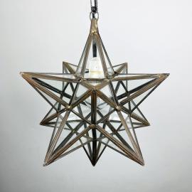 Mid-century brass pendant lamp Star Italy 1950s Space-age Vintage Italian lighting