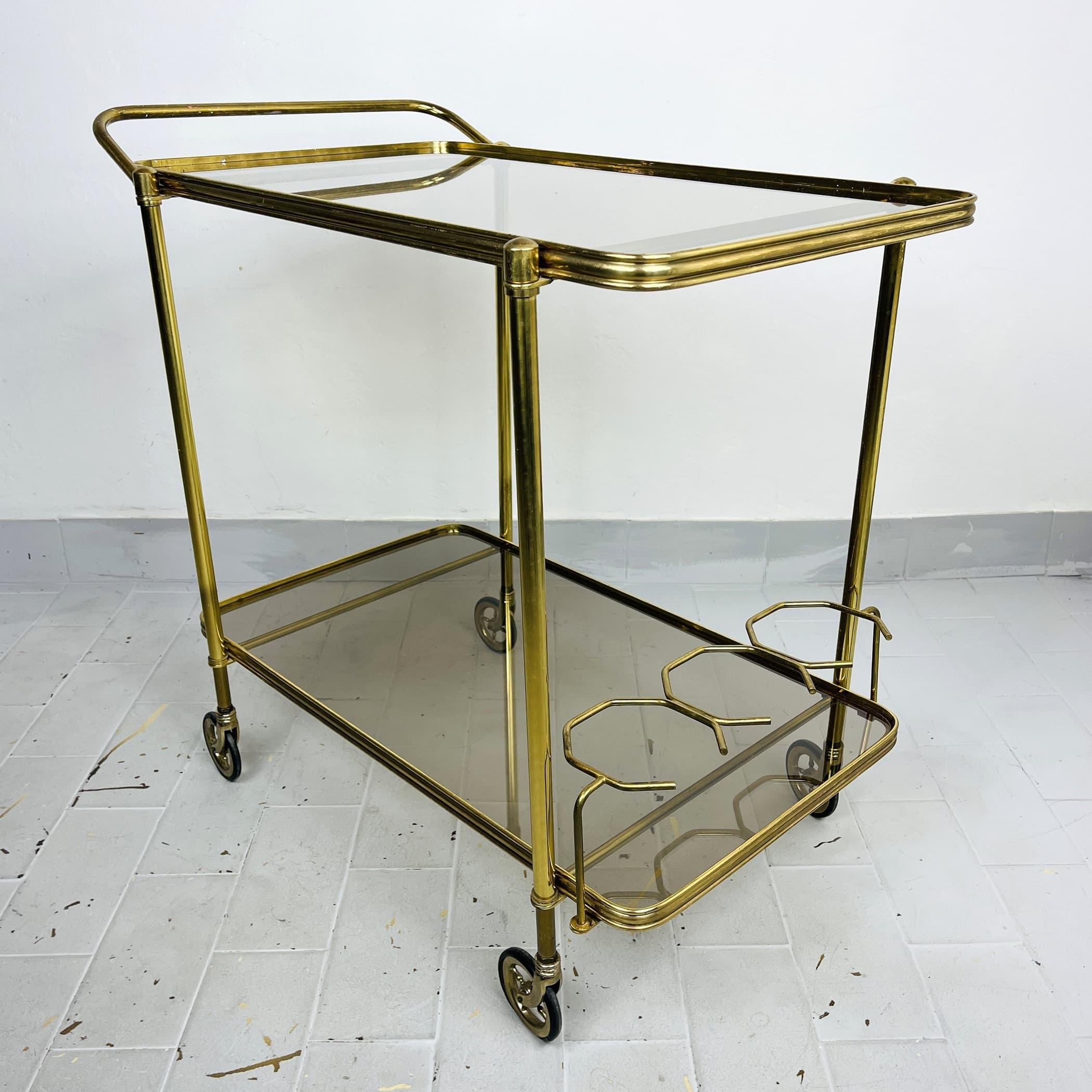 Vintage Serving Bar Cart Italy 1960s Retro trolley bar Brass Bar Wagon Drinks Trolley