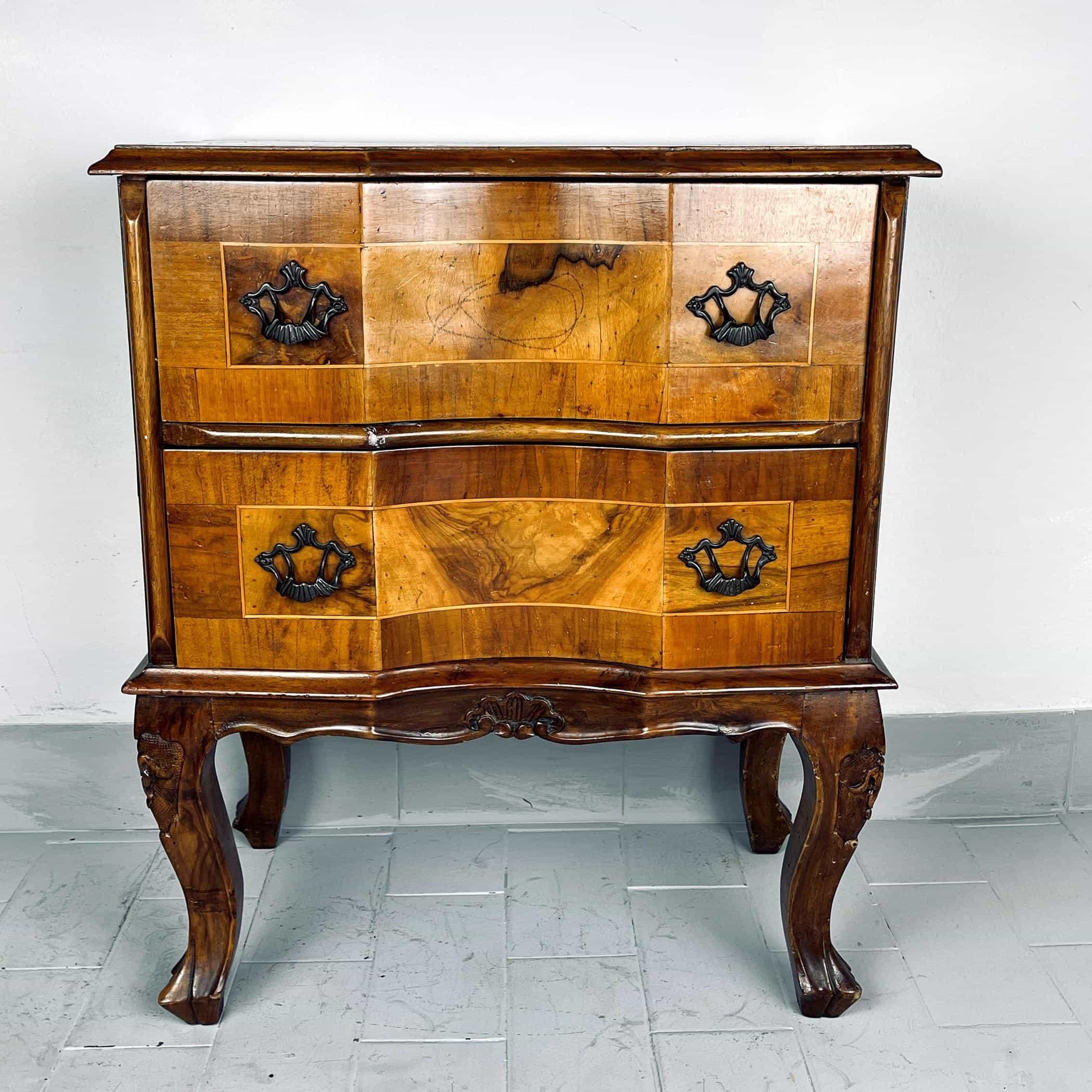 Vintage wood bedside Italy 1950s venetian wooden nightstands table