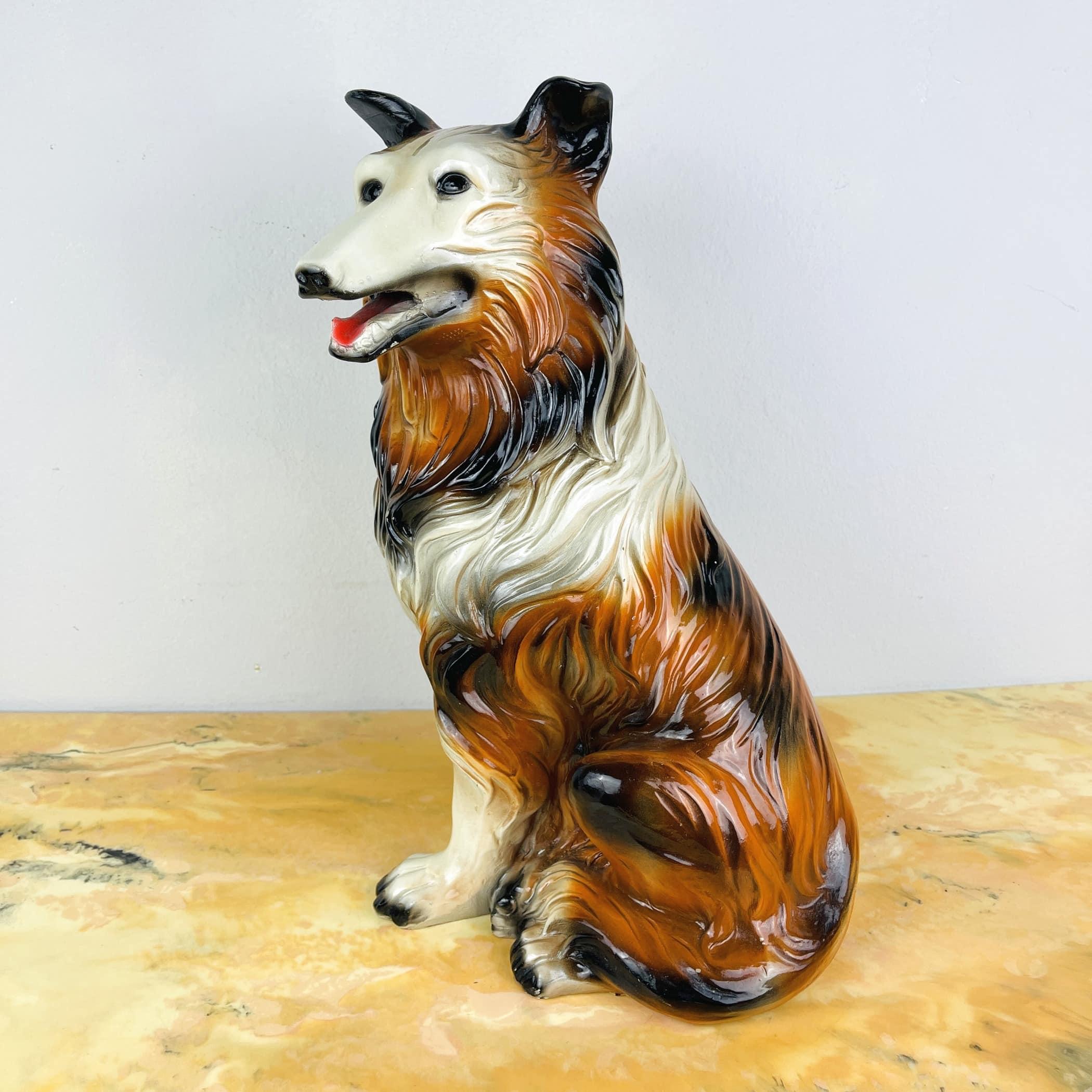 Vintage hand-painted sculpture Dog Italy 1960s Retro home decor mid-century italian decoration