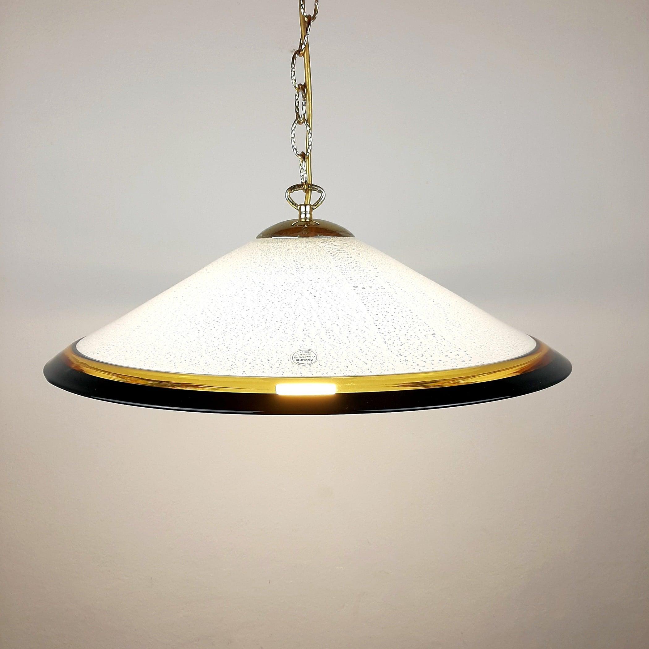 Mid-century murano glass pendant lamp Italy 1970s Black Yellow White Lamp Retro chandelier