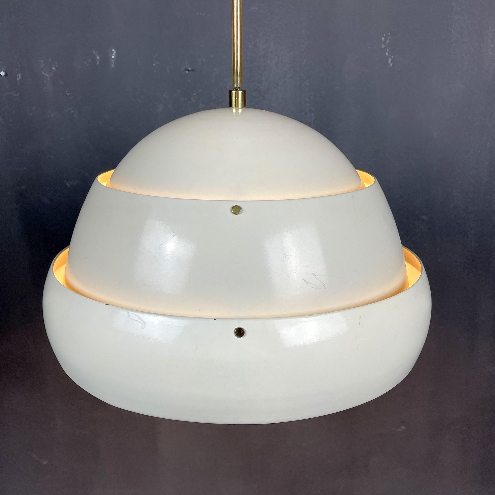 Vintage metal pendant lamp DDR 60s-70s Scandinavian design Retro home decor