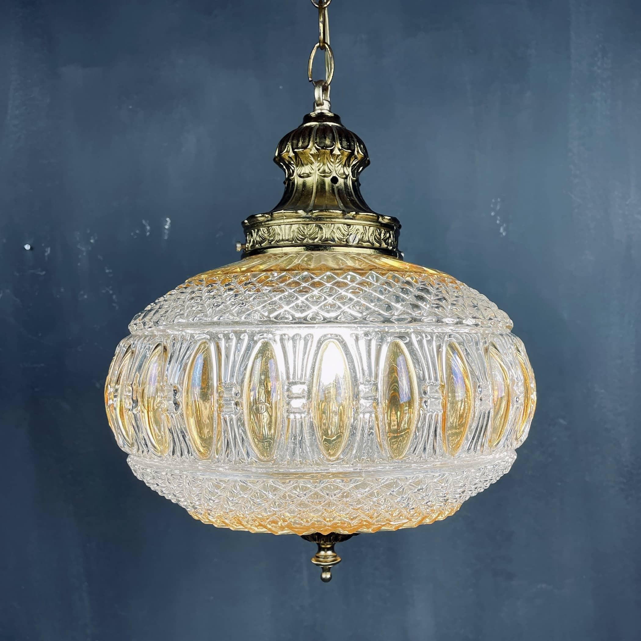 Vintage crystal swag lamp Italy 1970s Retro hanging lighting Mid-century bronze lamp