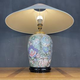 Vintage large ceramic table lamp Flower Italy 1970s