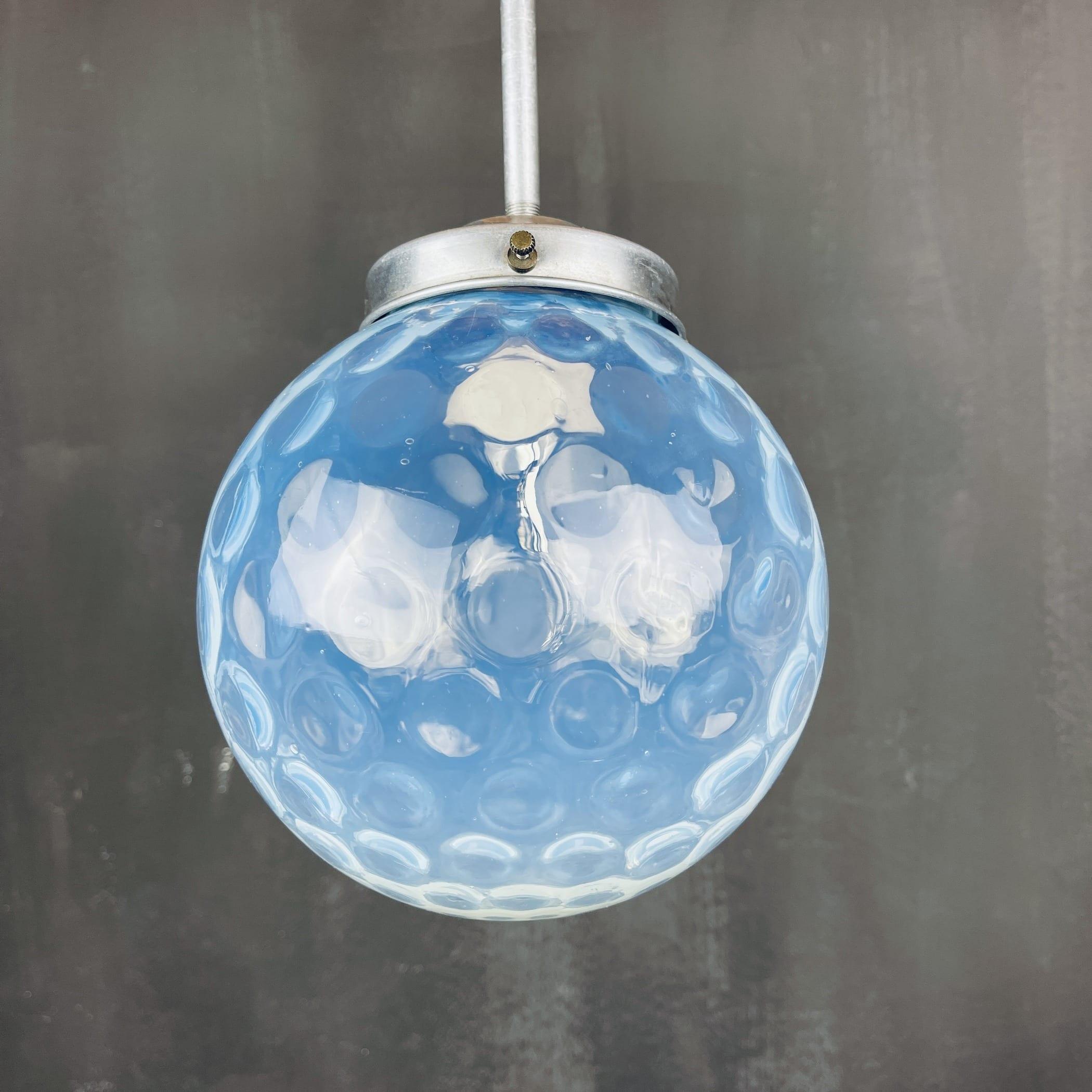 Vintage blue sphere ball pendant lamp Italy 1960s Mid-century italian lighting