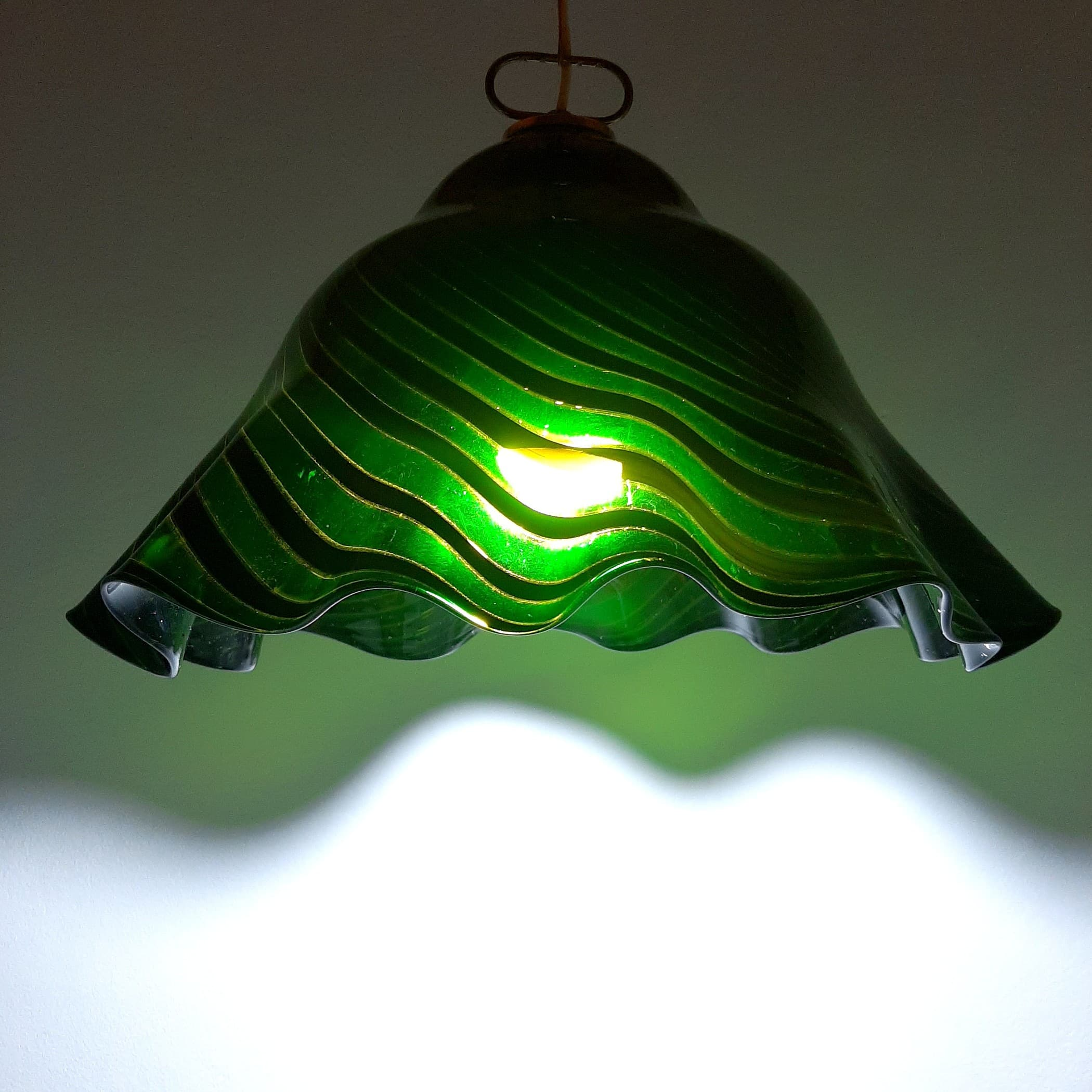 Vintage green murano glass pendant lamp Romano Mazzega Italy 1930s
