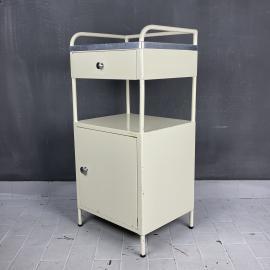 Vintage medical bedside industrial hospital cabinet Italy 1960s Serving bar medical cart table
