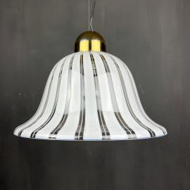Vintage murano white pendant lamp Italy 1970s Italian mid-century lighting Retro home decor
