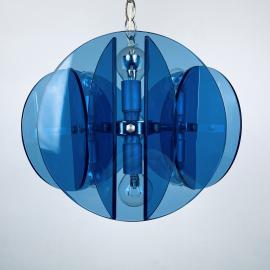 Mid-century blue pendant lamp Veca Fontana Arte Italy 1960s Space age sputnik atomic design Italian chandelier