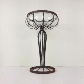 Vintage Glass Metal Vase 1970s Yugoslavia Handmade Patina Fruit Vase