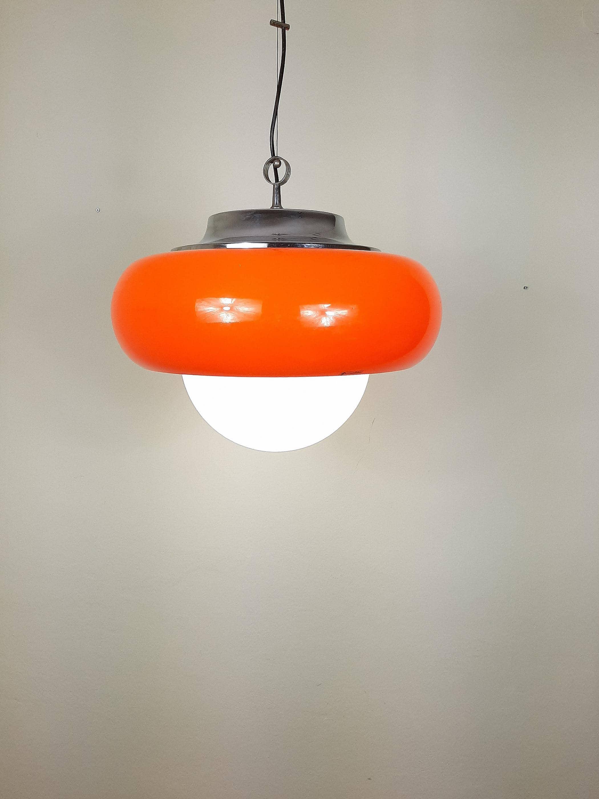 XL Mid-Century Pendant Lamp Vintage Ceiling Lamp Best Meblo For Guzzini 1970 Made in Italy Orange Ø 50 cm Space Age Modern Retro Hanging Light