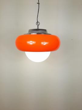 XL Mid-Century Pendant Lamp Vintage Ceiling Lamp Meblo For Guzzini 1970 Made in Italy Orange Ø 50 cm Space Age Modern Retro Hanging Light