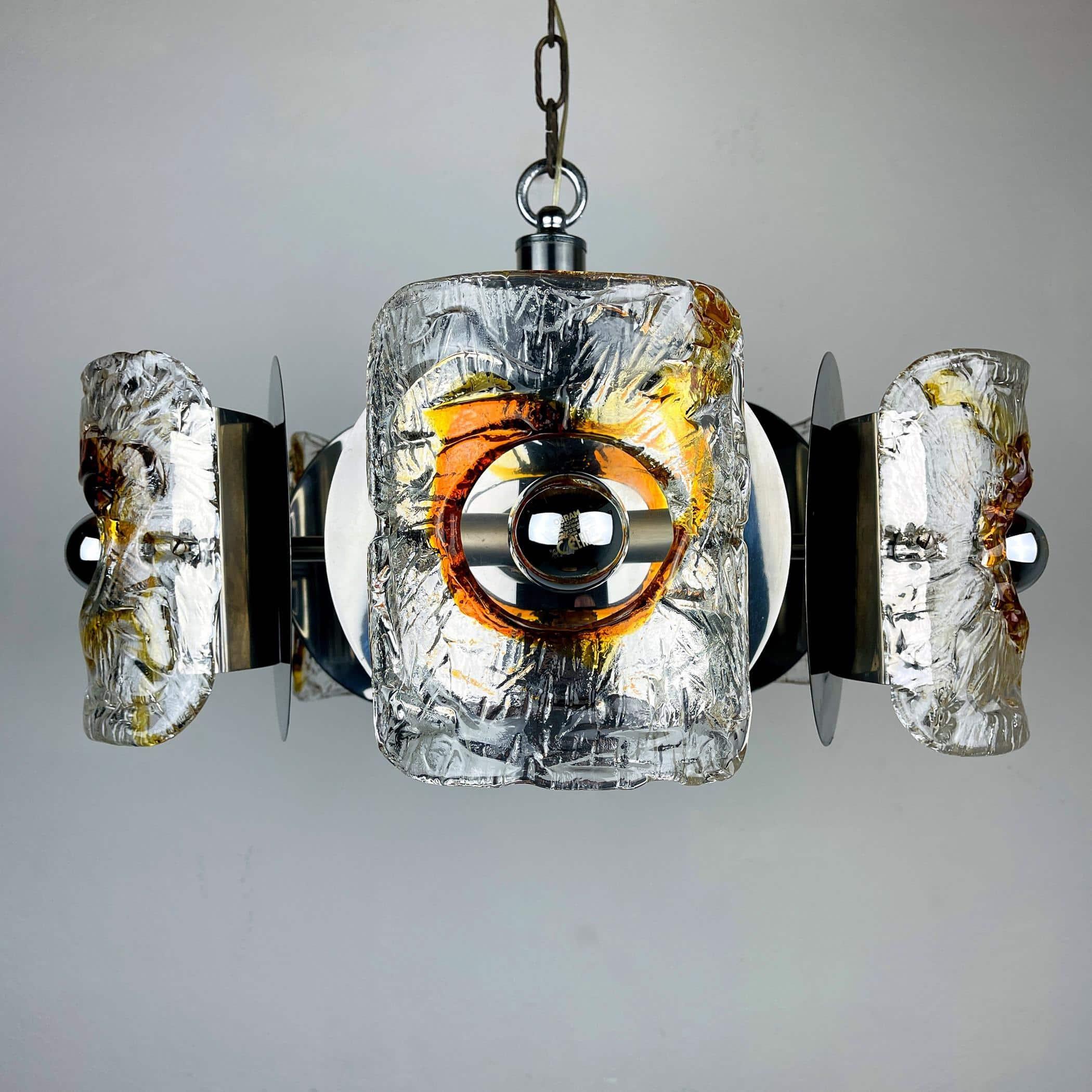 Mid-century amber Murano chrome chandelier Mazzega by Toni Zuccheri Italy 1970s Space age Sputnik atomic design