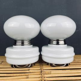 Pair of vintage white table lamps Italy 1980s mushroom table lamp art deco mid-century modern Italian lighting