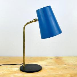 Mid-century blue metal desk lamp Italy 1960s Retro home office working light