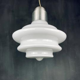 Large mid-century opaline white glass handing lamp Italy 1960s Art deco Italian modern