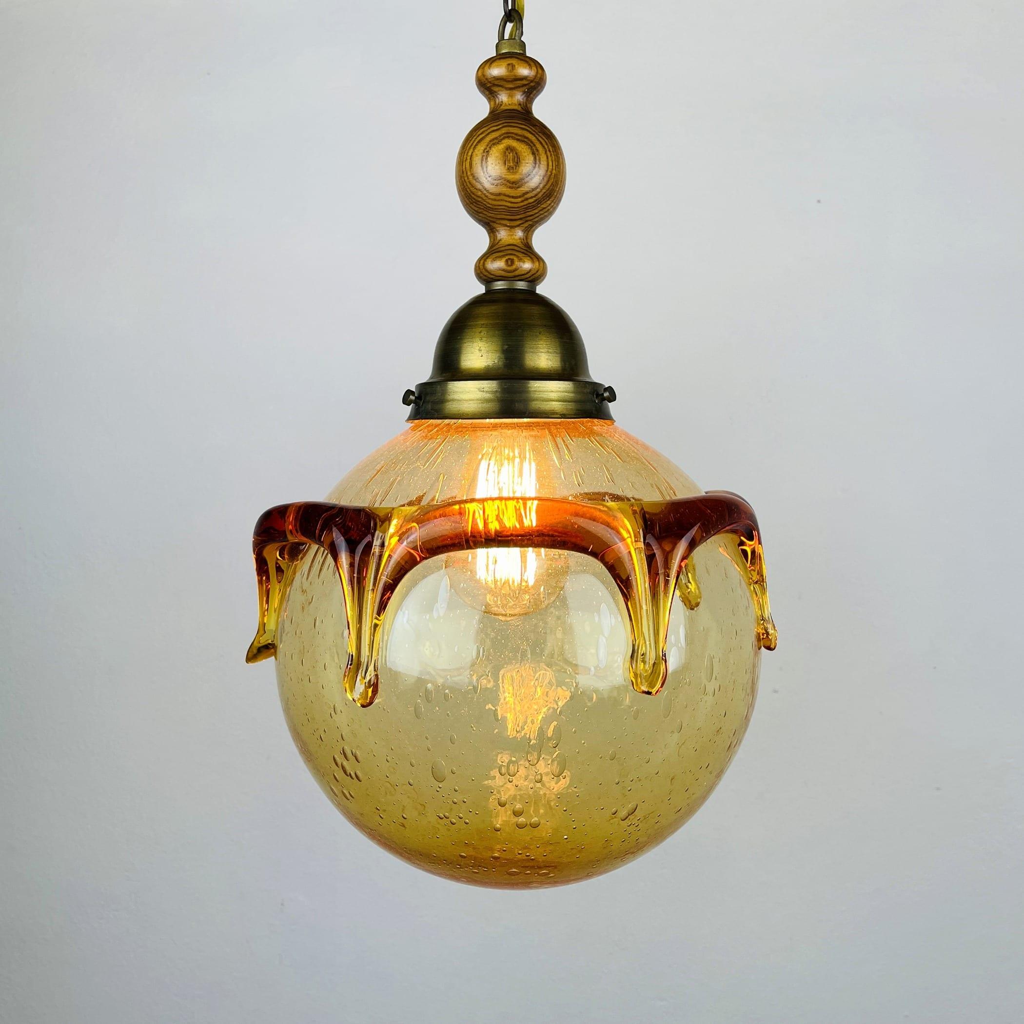 Vintage murano glass pendant lamp Italy 1960s beige and amber Retro home decor Mid-century light