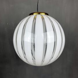 Vintage swirl murano white pendant lamp Italy 1970s Italian modern classic Space age Mid-century lighting