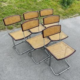 Set of 6 mid-century cane dining chairs Cesca style Italy '80s Cantilever Office Dining Chair Bauhaus Modern