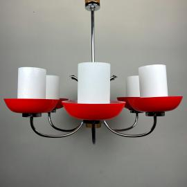 Vintage pendant lamp Sijaj Hrastnik Yugoslavia 80s Red and White glass Art deco Space age Atomic chandelier Mid Century Modern