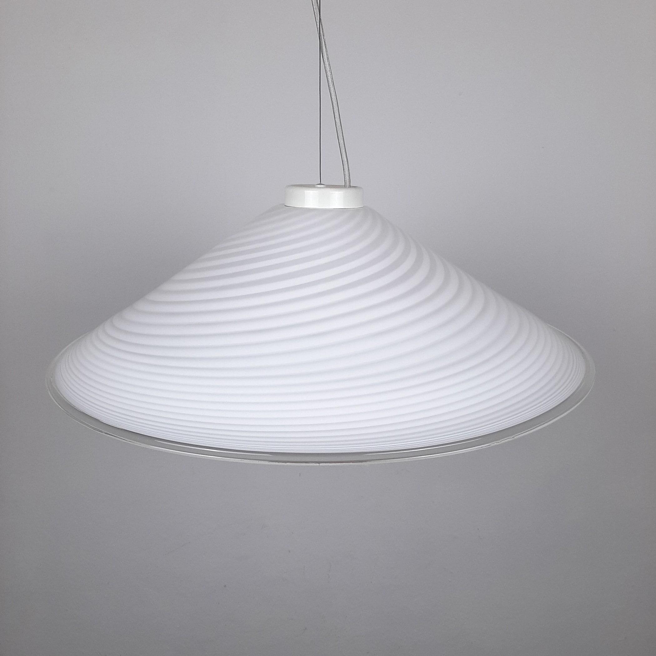 Retro swirl murano glass pendant lamp Italy 1970s Mid-century light