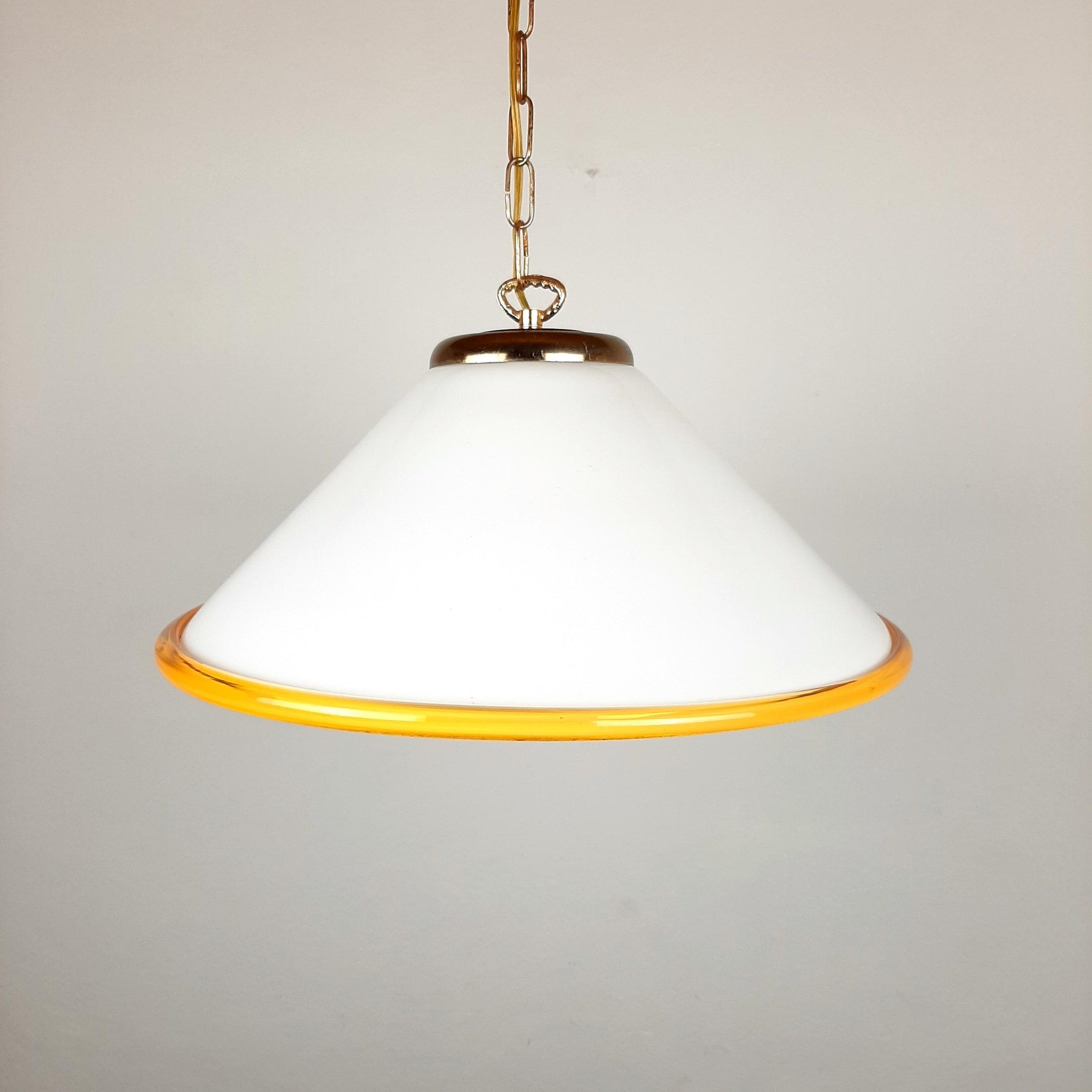 Vintage murano glass pendant lamp Italy 1970s Retro lighting Space age