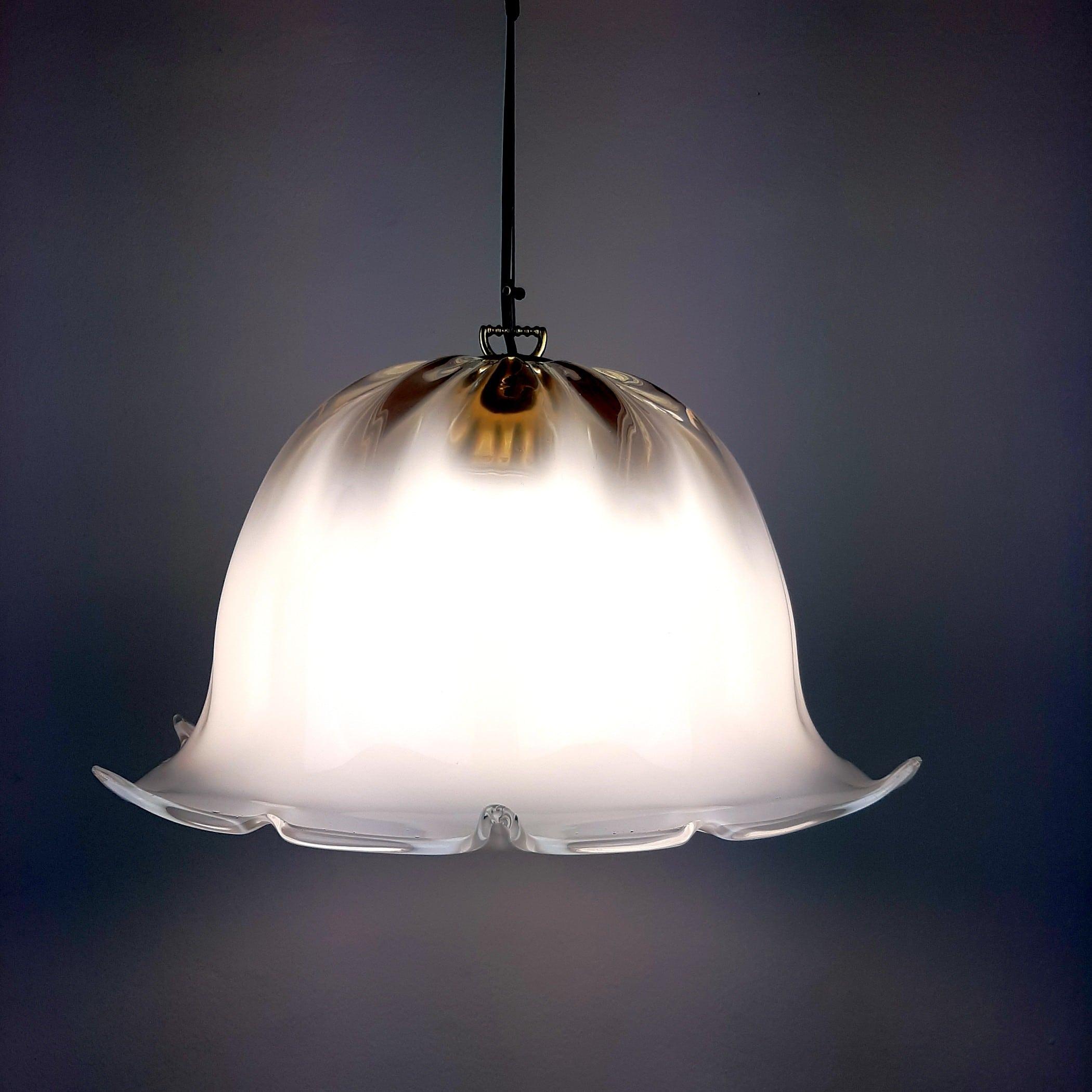 Vintage murano glass pendant lamp Italy 1970s Retro home decor Mid-century lighting