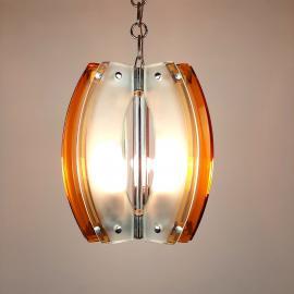 Rare murano glass pendant lamp italian design by Fontana Arte style Italy 70s Art deco MCM mid-century ceiling lamp