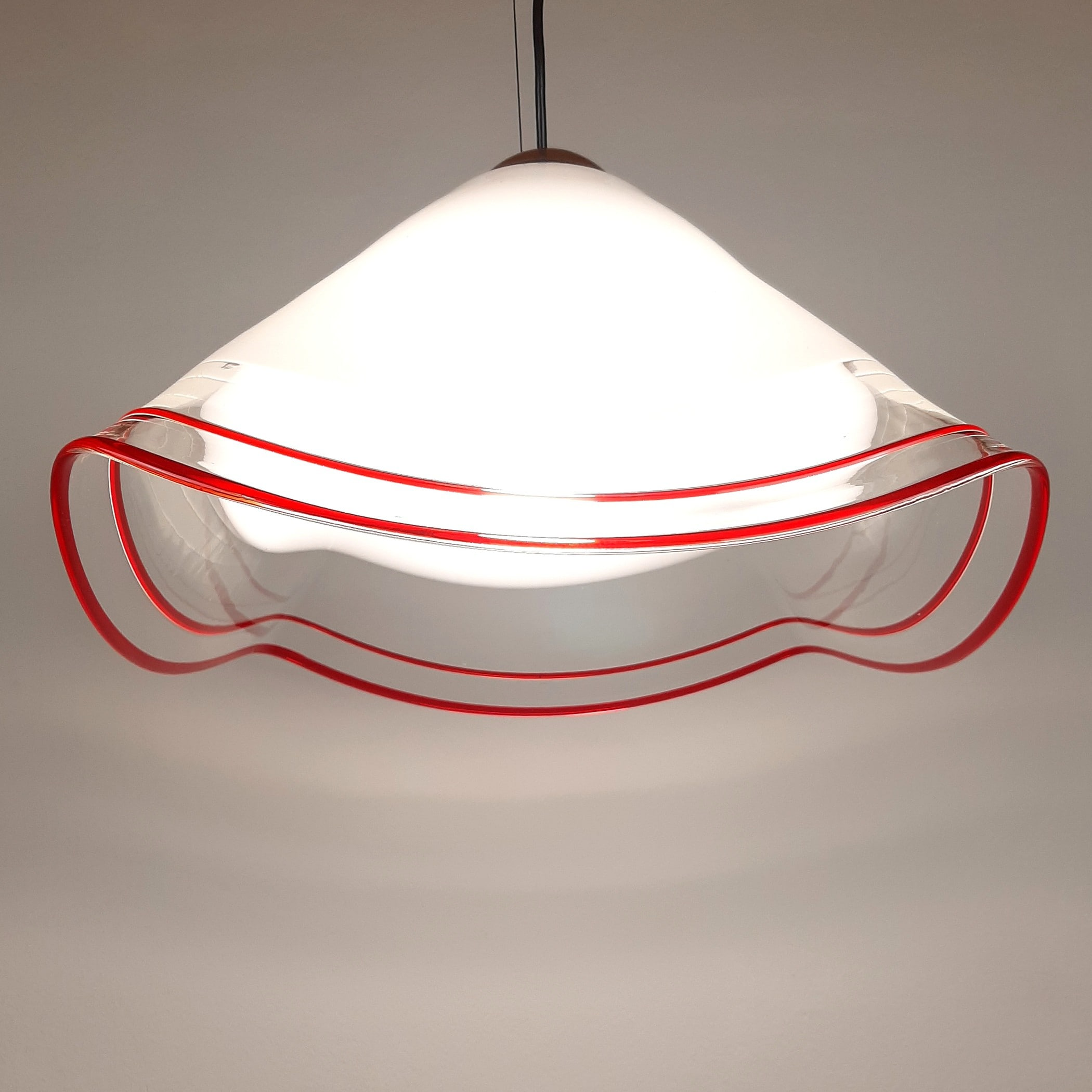 Retro murano glass pendant lamp by Renato Toso Italy '70s Mid-century Lighting White and Red Space Age