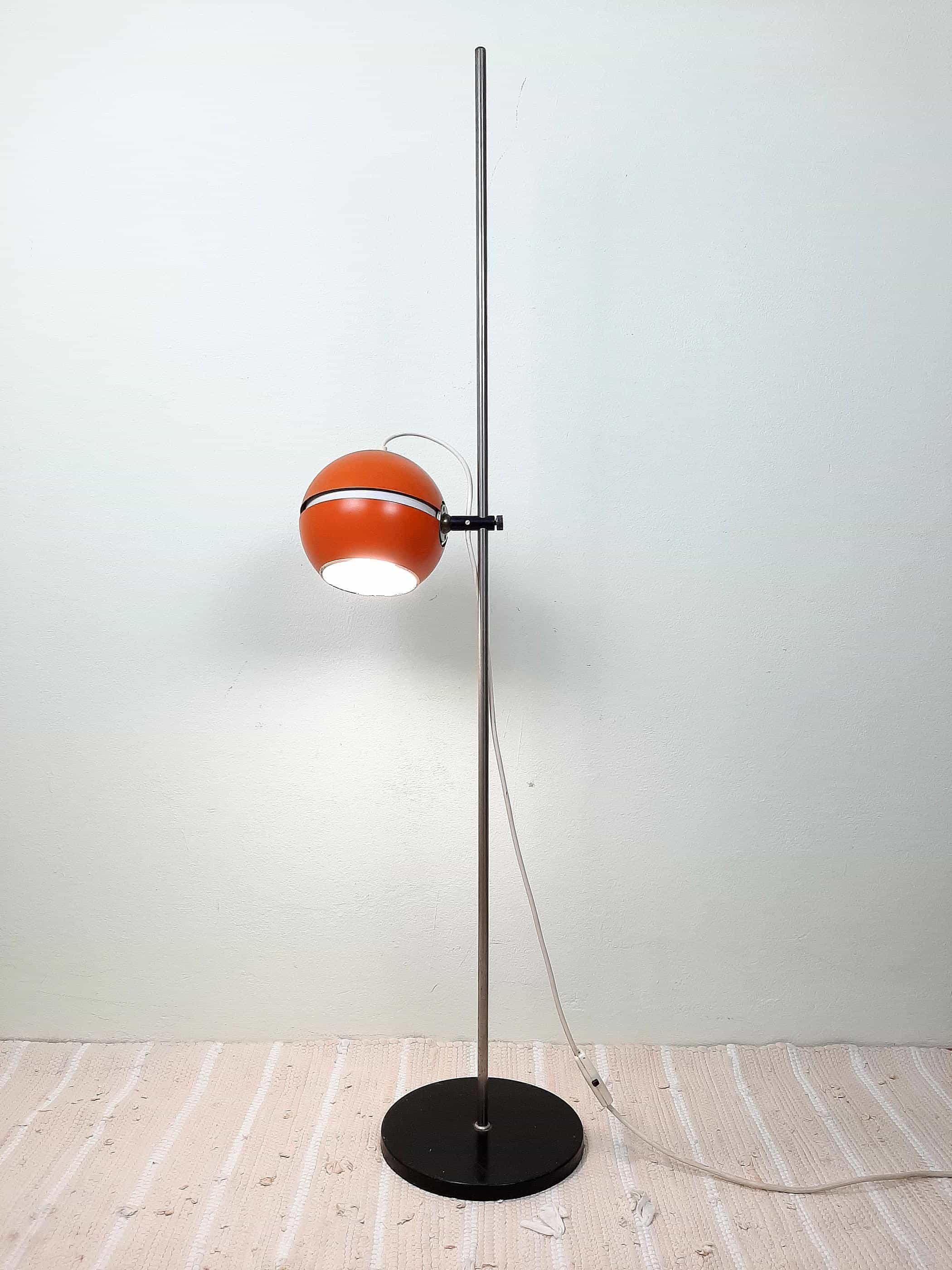 Mid-century Floor Lamp Space Age Orange metal lamp by AKA VEB Wohnraumsleuchte 1960's DDR Eyeball lamp