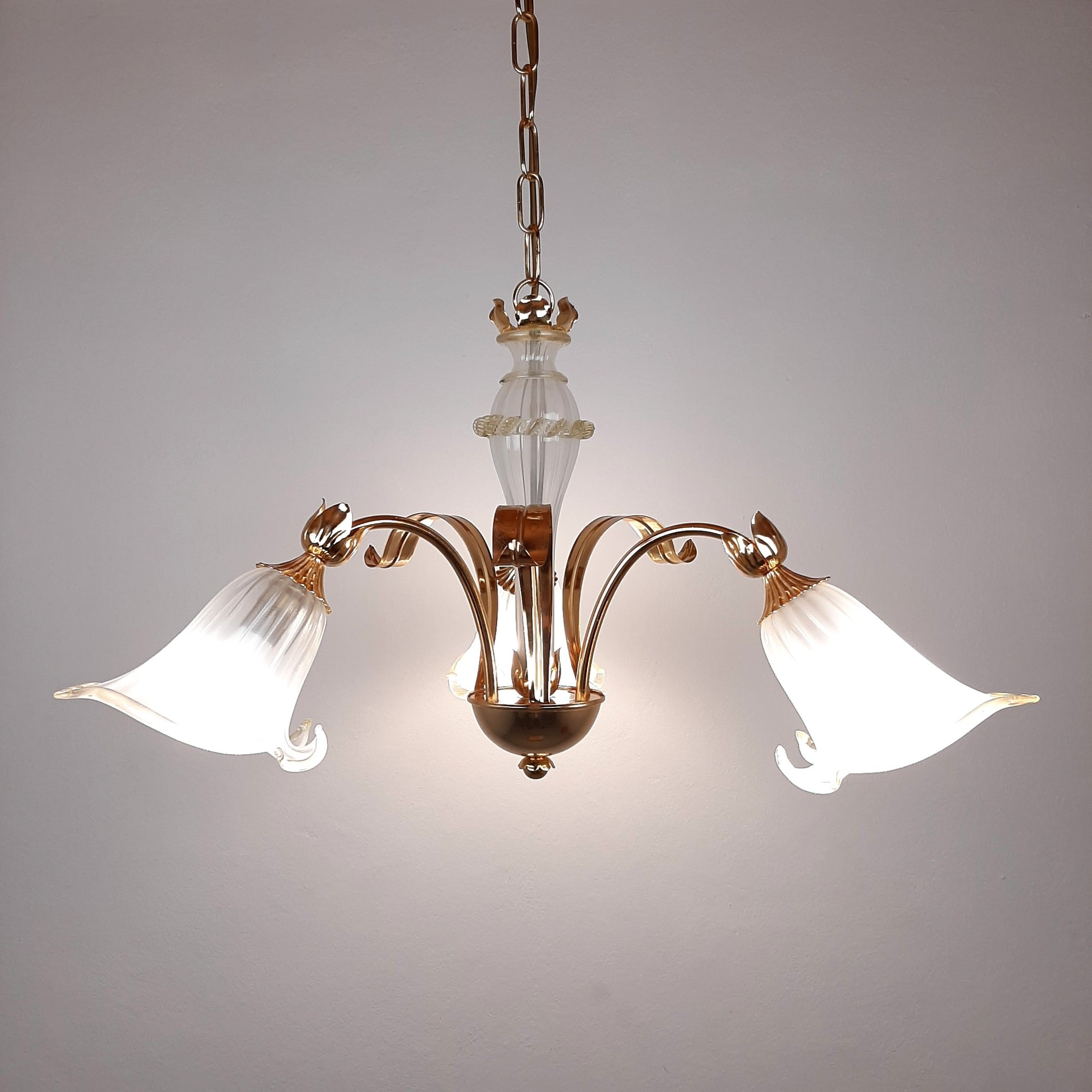 Vintage murano chandelier Lilies Italy 1980s Hollywood Regency style Italian lighting