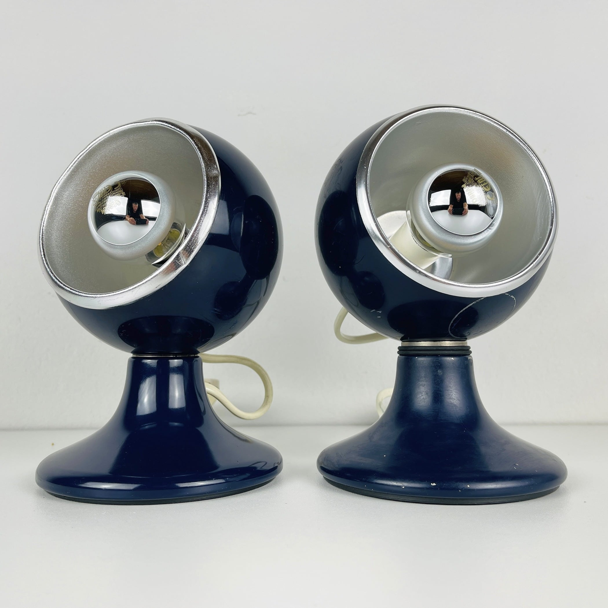 Pair of mid-century blue eyeball table or wall lamps by Luci Illuminazione di Interni Milano Italy 1970s Model C-414