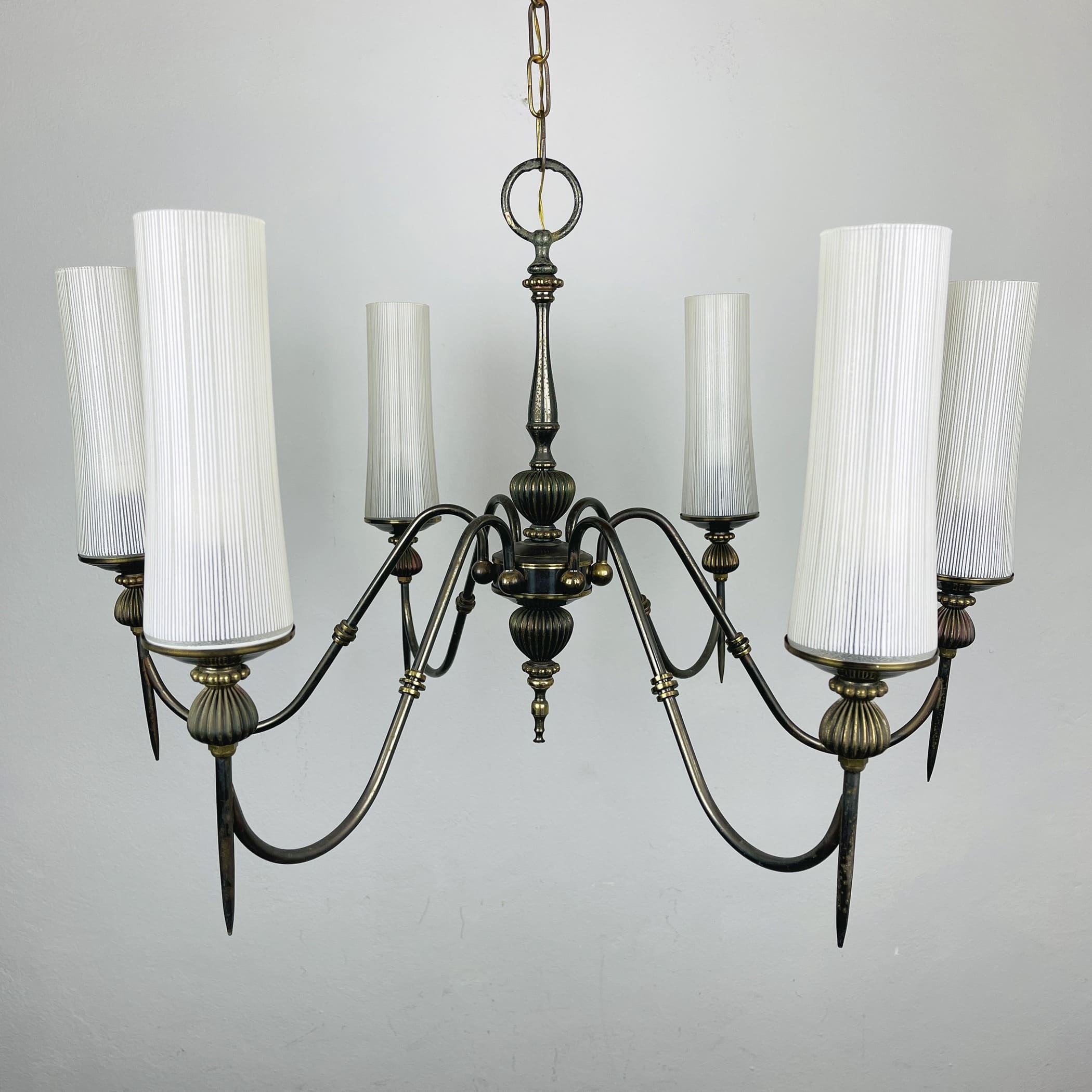 Vintage bronze chandelier Italy 1960s Victorian Art Deco Italian lighting