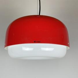 Mid Century Pendant Lamp Meblo For Guzzini Red Meduza Yugoslavia Italy 1970s Vintage Ceiling Lamp Retro Hanging Light Space Age Modern