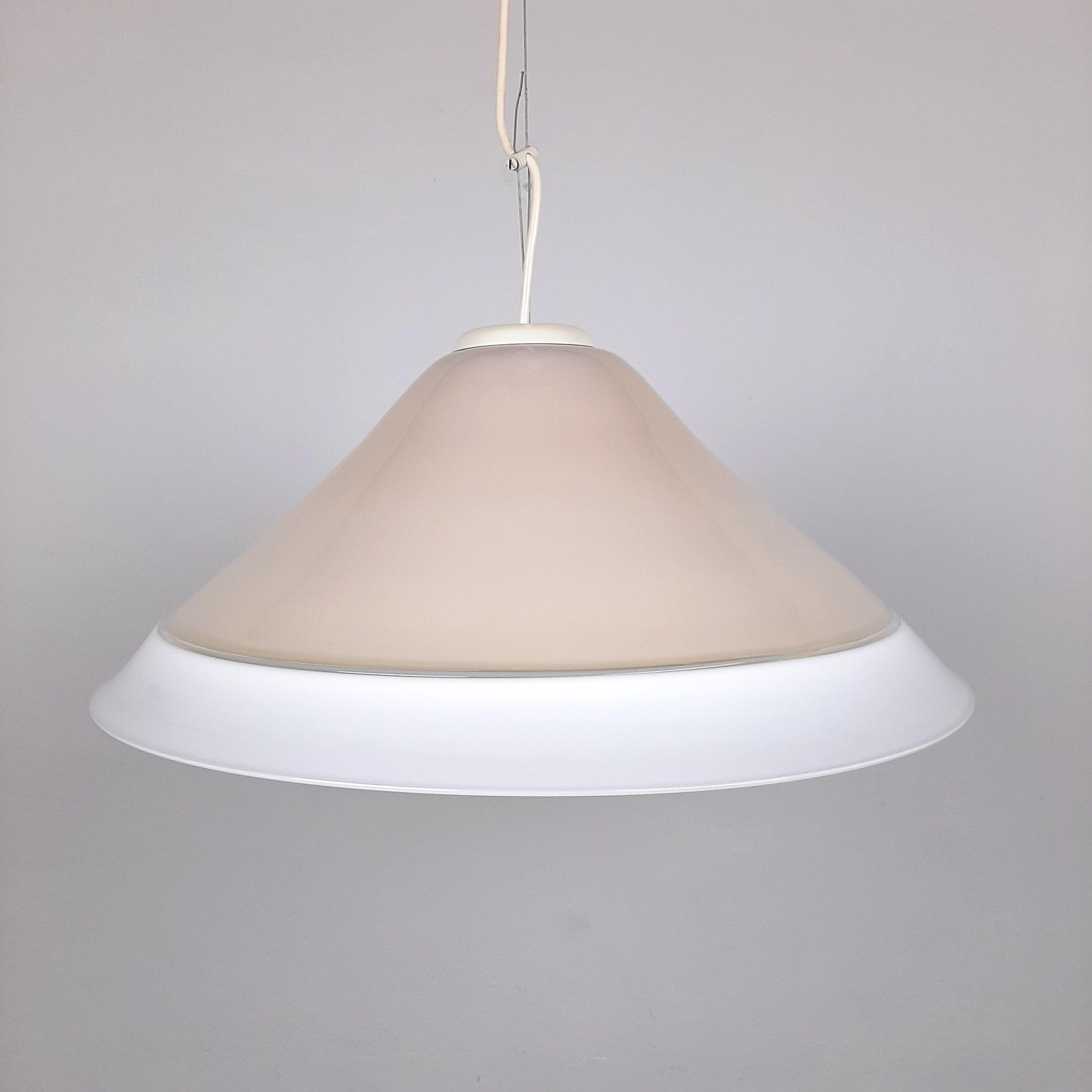 XL Retro murano glass lamp Italy 1970s Beige White Mid-century lighting Vintage murano