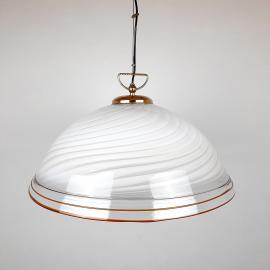 XXL Mid-century murano glass pendant lamp Italy 1970s Retro Lighting White Gold Swirl lamp