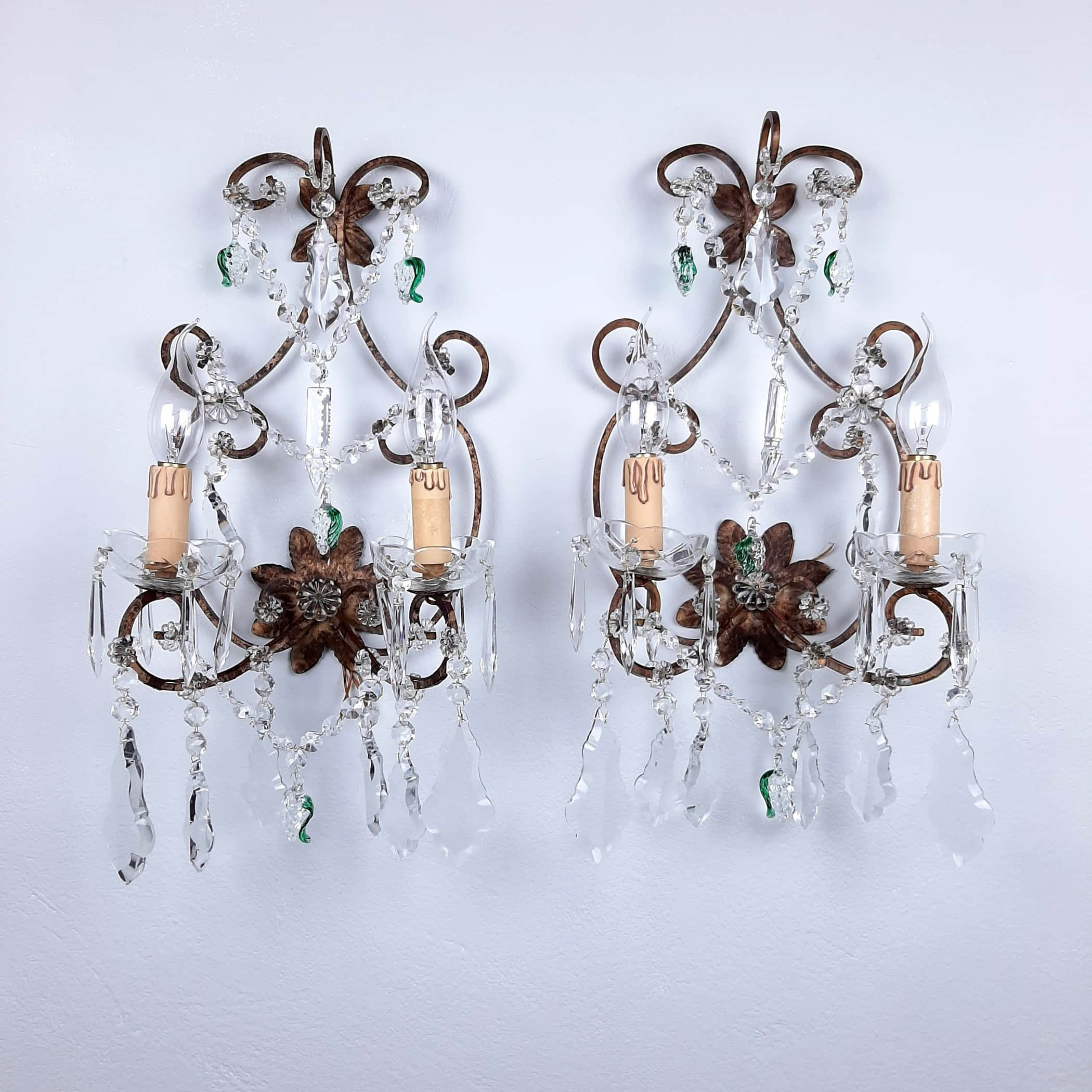 Pair vintage murano crystal sconce Italy 50s Antique Wall Sconces Retro Italian Wall Lights