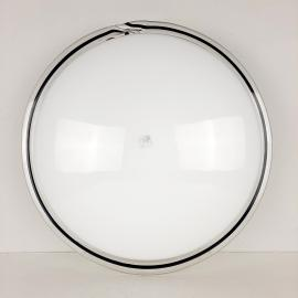 Vintage murano glass ceiling or wall lamp Italy 1970s White and Black Ronda UFO Space age Retro italian design lighting