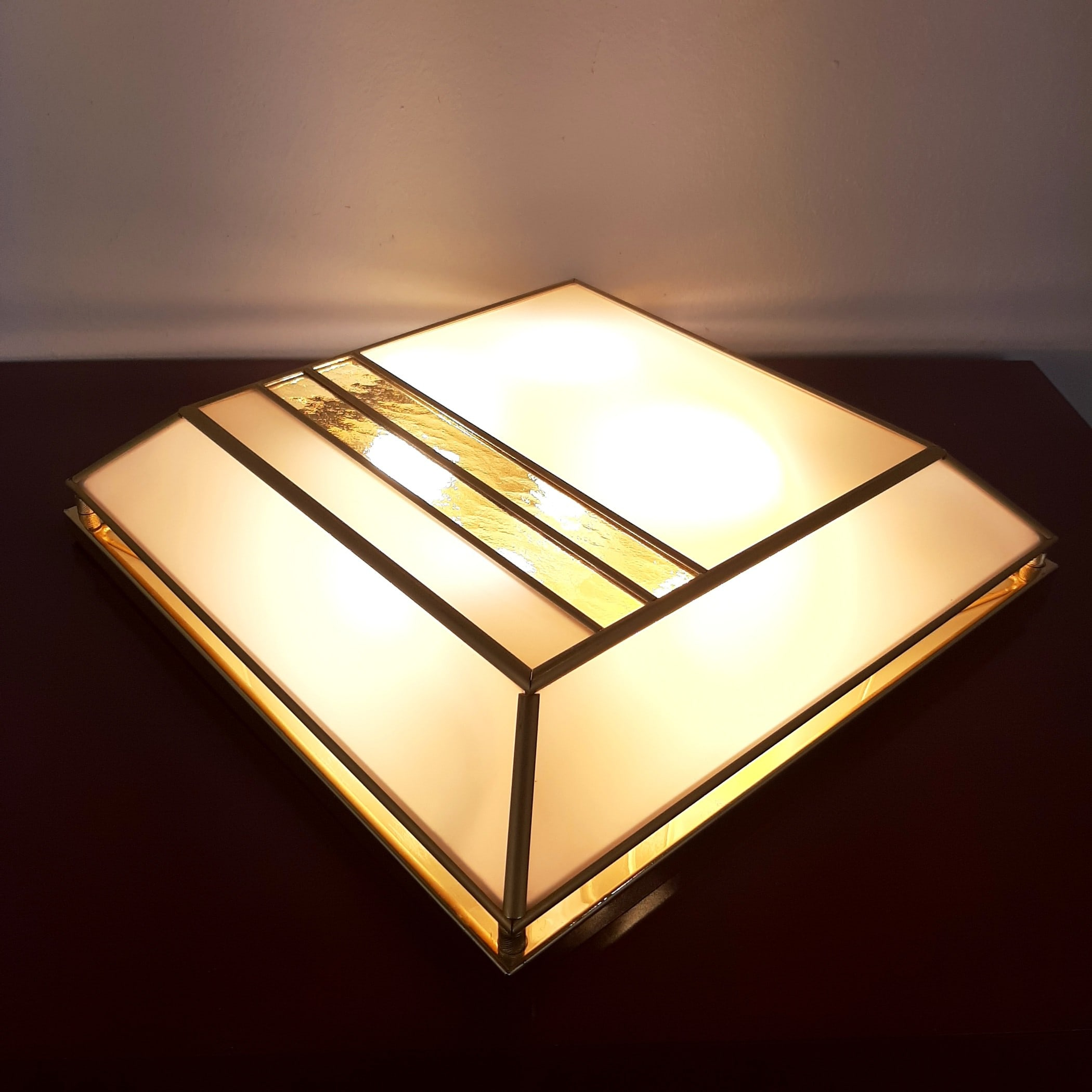 Retro ceiling lamp Gold and White Italy 1980s Wall lamp Mid-century lighting italian design