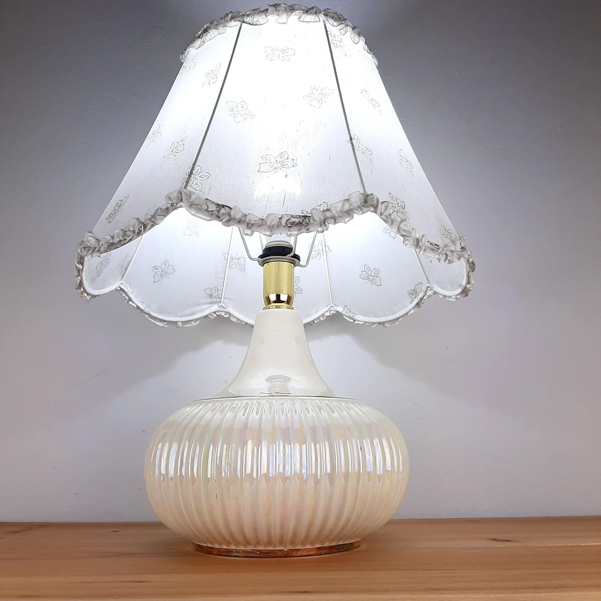 Retro nacre table lamp Jean Marie Italy 1970s Mid-century light