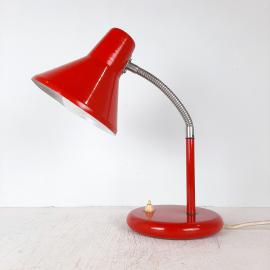 Mid-century desk lamp Yugoslavia '80s Red metal Retro table lamp Goose