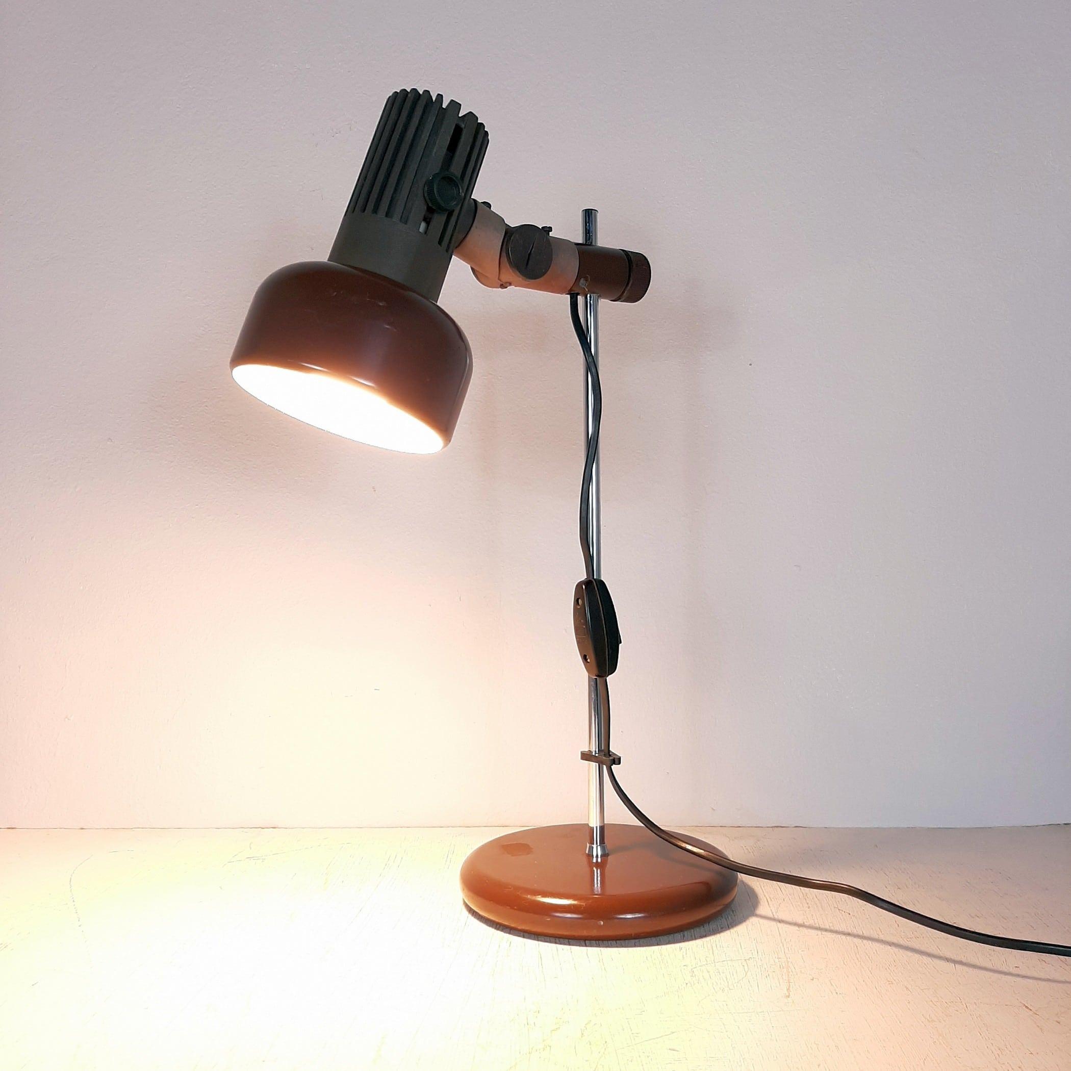 Mid-century desk lamp '80s Yugoslavia retro office lamp Industrial Brown