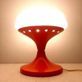 Mid-century table lamp Yugoslavia 60s Orange White desk lamp Space Age Atomic Mushroom