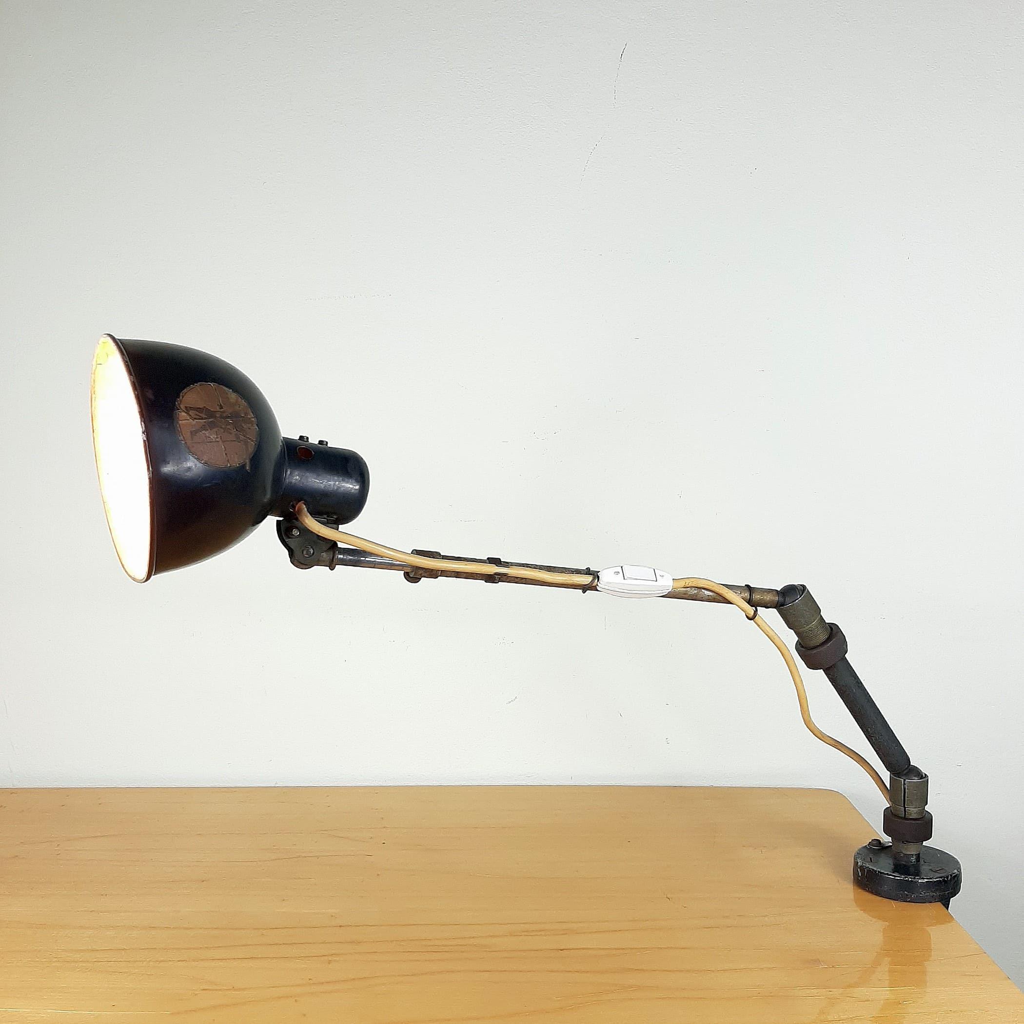 Vintage Industrial Desk Lamp 1950 Yugoslavia Black Metal Office Engineering Lamp Goose Lamp