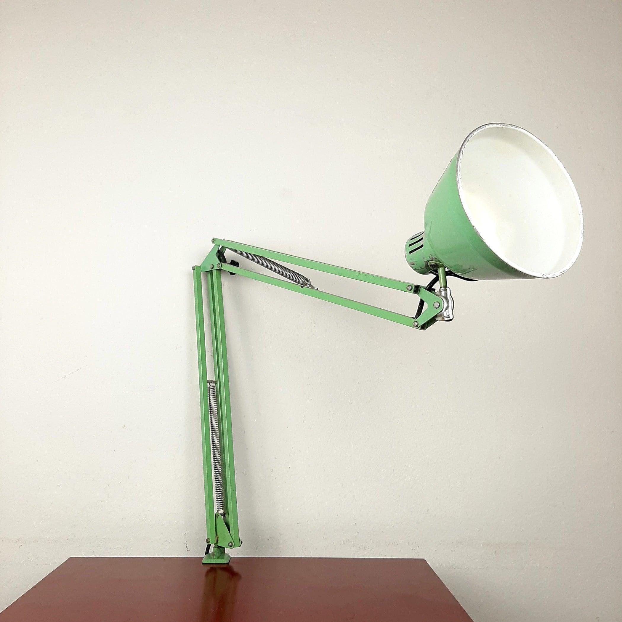 Mid-century desk lamp Brevetti Longoni Rimsa Italy '50s-60s retro office table lamp Vintage Industrial green lamp Articulating lamp